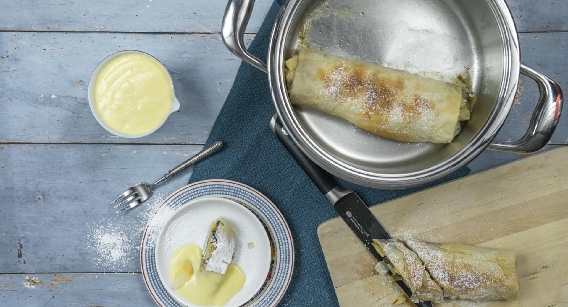 Rollitos de hojaldre con manzana