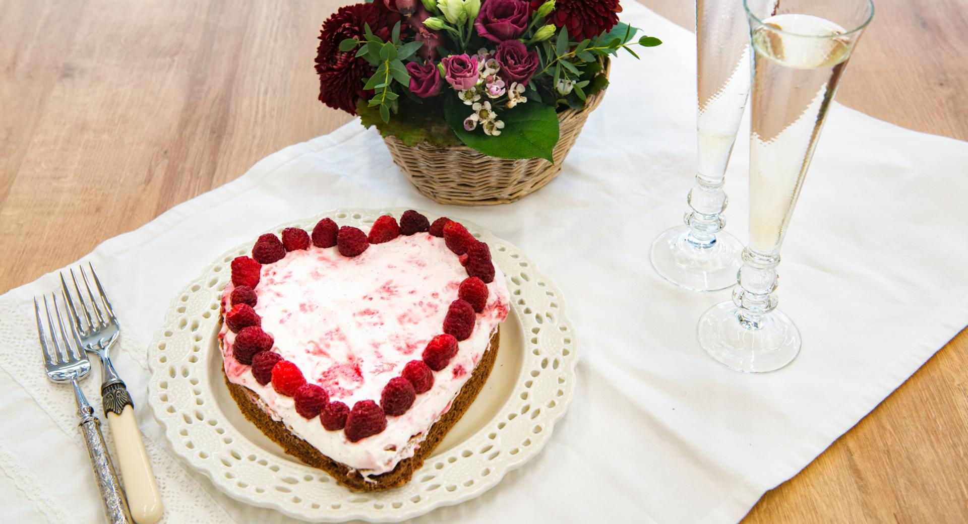 Corazón de chocolate con frambuesa