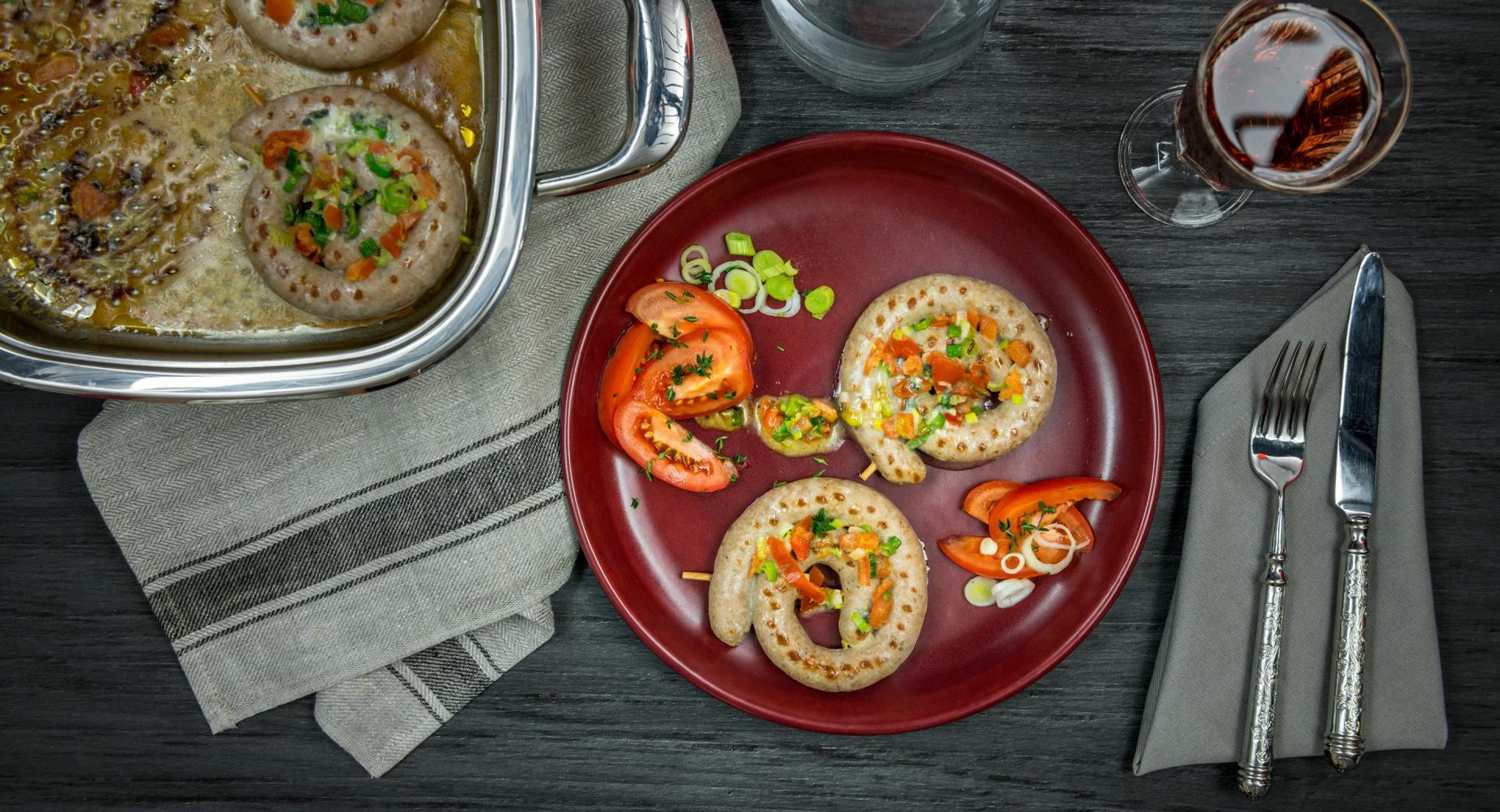 Caracolas de butifarra con gorgonzola