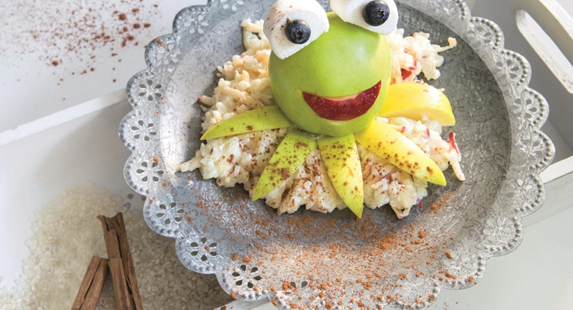 Pudin de arroz con manzanas y almendras