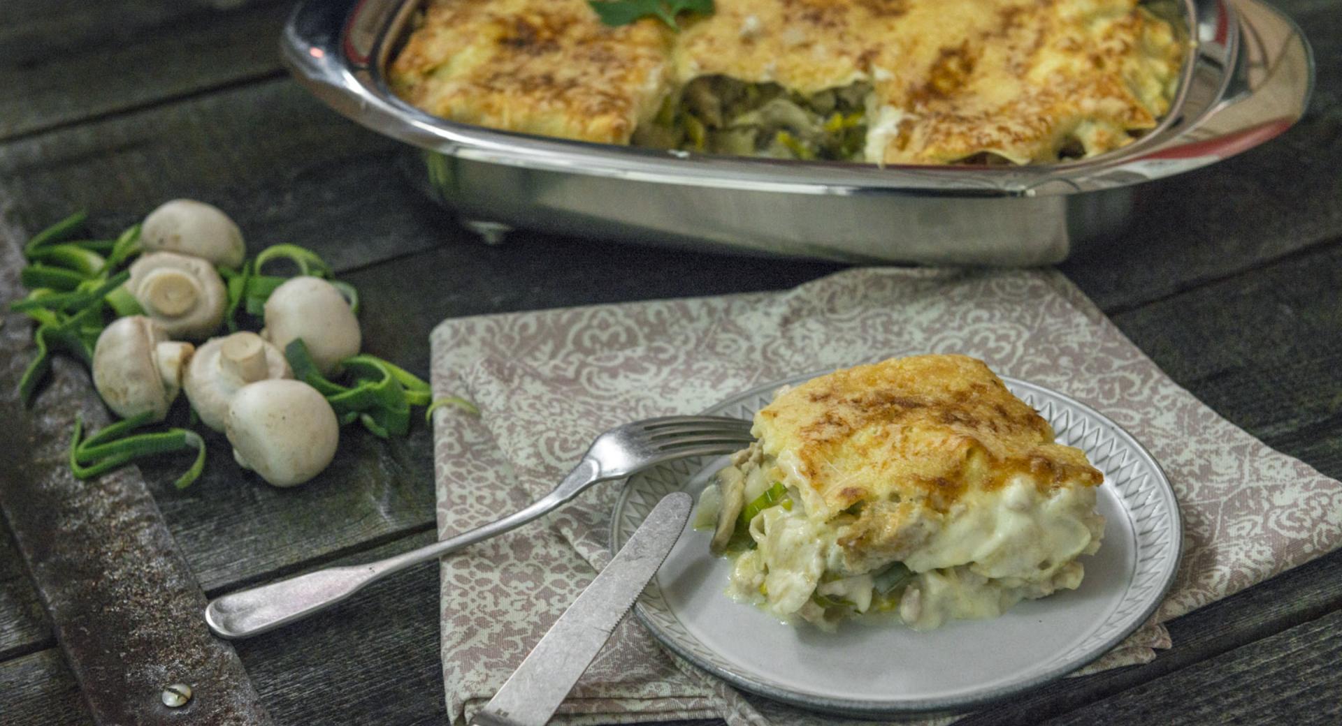 Lasaña de pollo y verdura