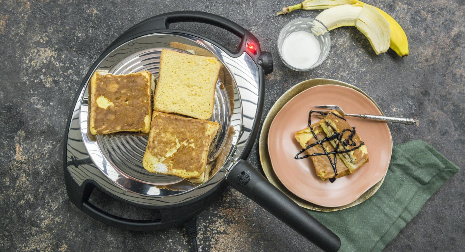 Tostada francesa de chocolate y plátano
