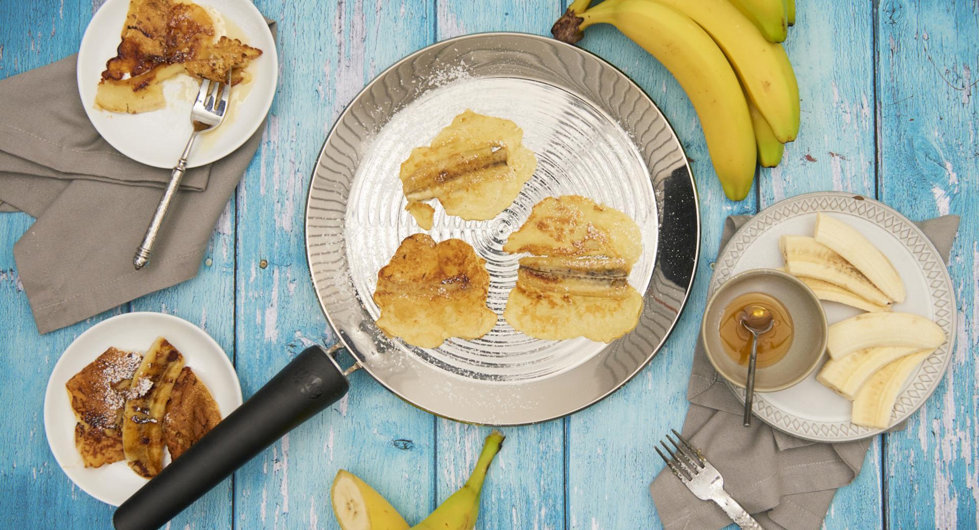 Panqueques con plátano caramelizado