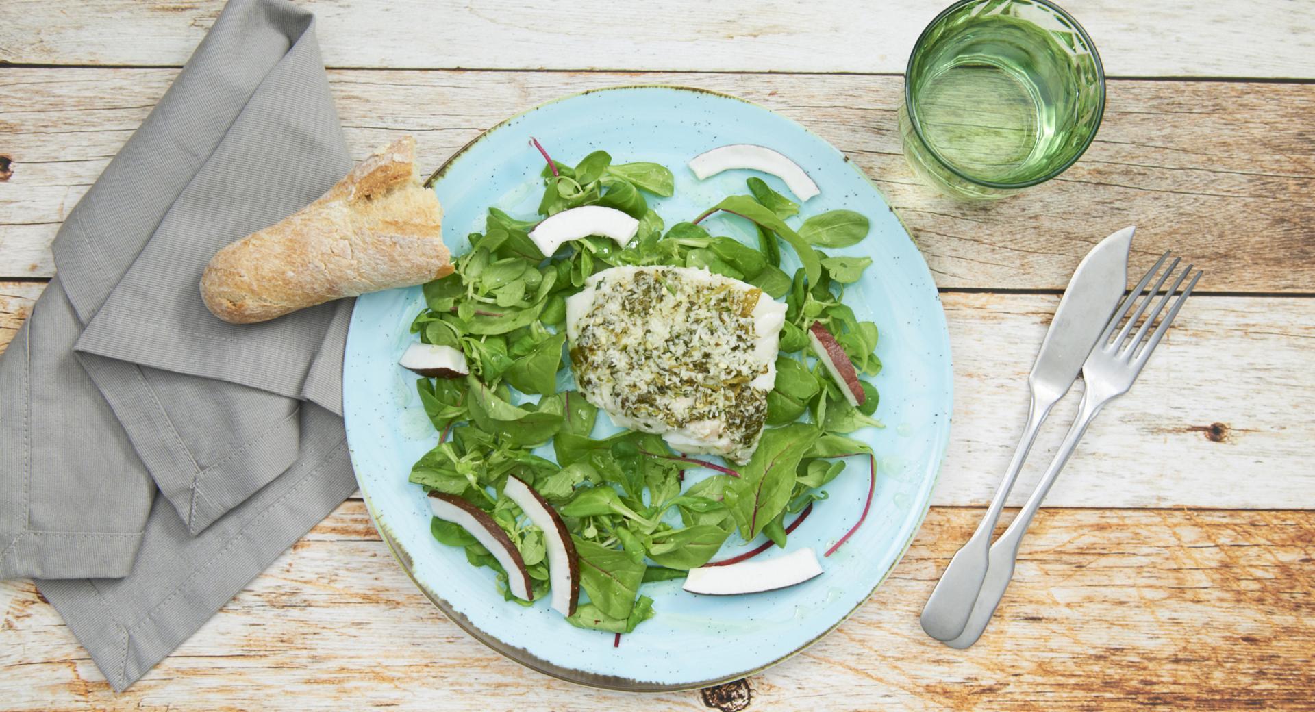 Filete de bacalao con cilantro y coco