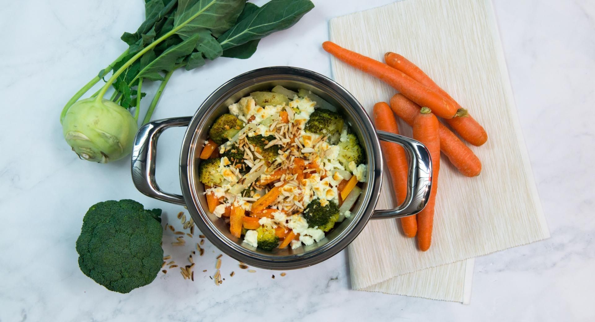 Verduras gratinadas con feta