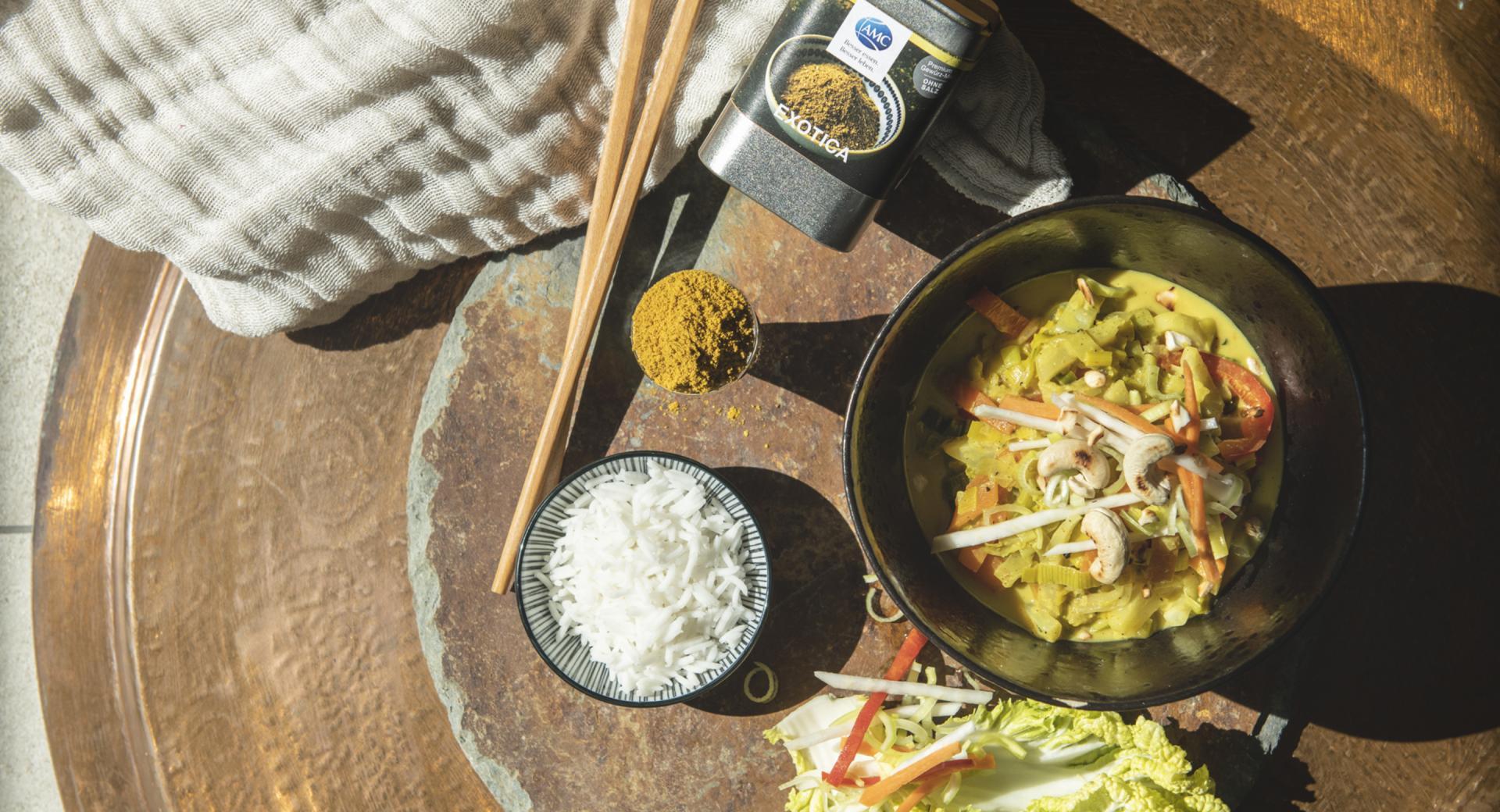 Curry de coco y verduras con especias AMC Exótica