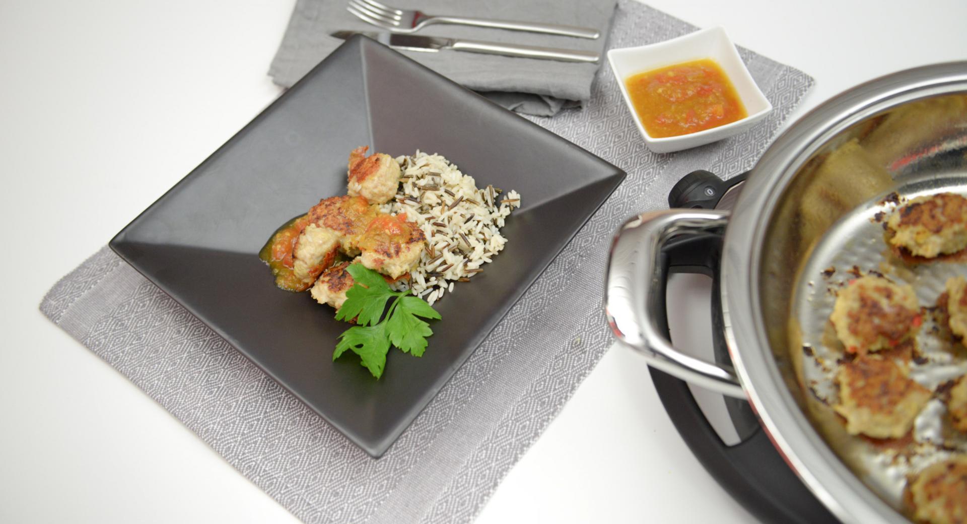 Albóndigas de pollo con salsa de albaricoque