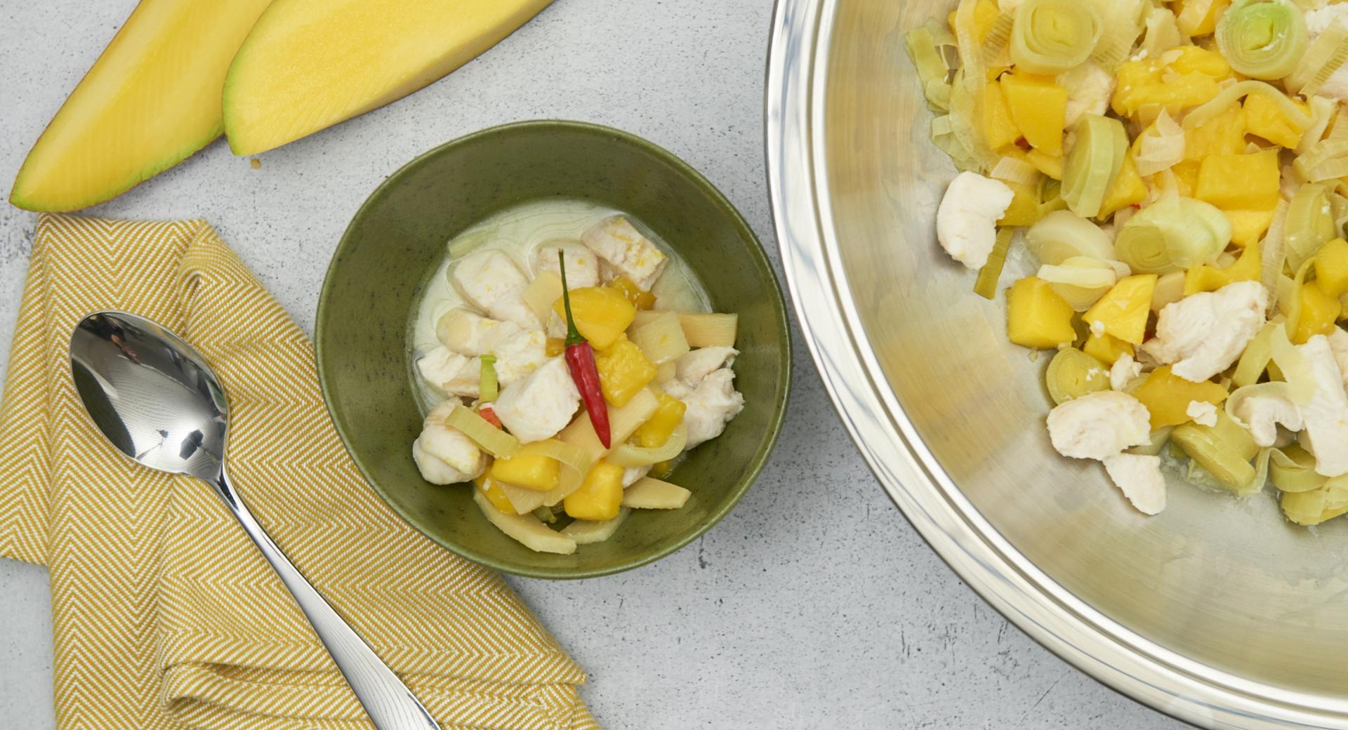 Rape con mango y verduras