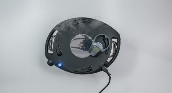 """Mientras el Navigenio parpadee en azul y rojo, introducir un tiempo de horneado de unos 3 minutos con el botón derecho del Avisador (Audiotherm). El Navigenio parpadea en azul, en la pantalla del Avisador (Audiotherm) se muestra el símbolo """"conexión por radio activa""""."""