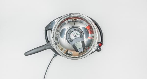 Encender el Avisador (Audiotherm) con el botón derecho o izquierdo, colocarlo sobre el pomo (Visiotherm) y girarlo hasta que aparezca el símbolo de chuleta.