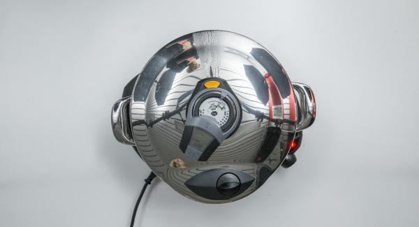 """Si la temperatura es demasiado alta, el Avisador (Audiotherm) mostrará """"-"""". Seguir reduciendo la temperatura del fogón o apagar por completo."""