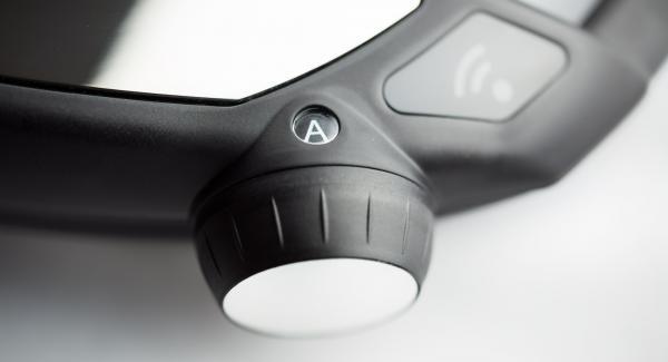 """En el Navigenio, seleccionar la función automática """"A"""", encender el Avisador (Audiotherm) con el botón derecho o izquierdoe introducir 25 minutos de tiempo de cocción con el botón derecho."""