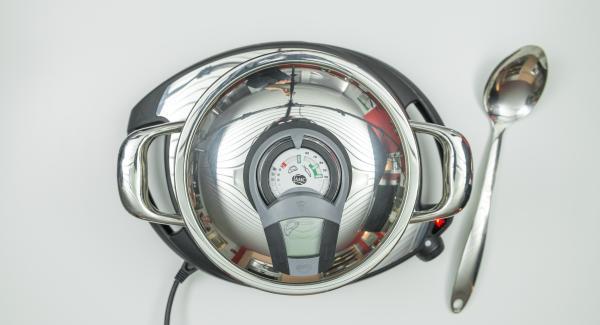 """Encender el Avisador (Audiotherm) con el botón derecho o izquierdo y colocarlo sobre el pomo (Visiotherm). Girar hasta que aparezca el símbolo de """"chuleta""""."""