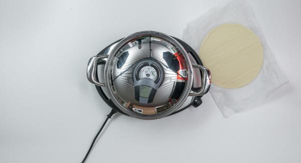 """Encender el Avisador (Audiotherm) con el botón derecho o izquierdo, colocarlo en el pomo (Visiotherm) y girarlo hasta que aparezca el símbolo de """"chuleta""""."""
