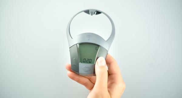 Encender el Avisador (Audiotherm) con el botón derecho o izquierdoy, con el botón derecho, introducir unos 25 minutos de tiempo de cocción.