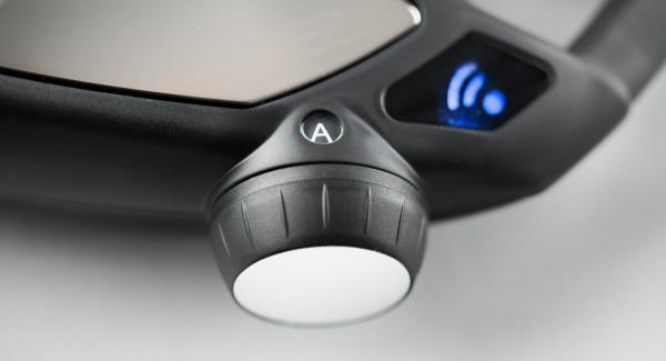 """Colocar el Avisador (Audiotherm) sobre el pomo (Visiotherm S)y girarlo hasta que aparezcan el símbolo """"Soft"""" y el símbolo """"conexión por radio activa"""". Esto significa que el Navigenio ha establecido contacto por radio y parpadeará en azul."""