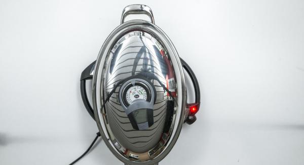 """Colocar la Oval en el Navigenio a temperatura alta (nivel 6). Encender el Avisador (Audiotherm), colocarlo en el pomo (Visiotherm) y girar hasta que se muestre el símbolo de """"chuleta""""."""