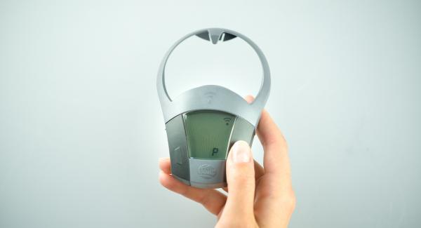 """Colocar la olla en el Navigenio y seleccionar la función (A), encender el Avisador (Audiotherm), introducir P minutos de tiempo de cocción. Colocarlo en el pomo (Visiotherm) y girar hasta que aparezca el símbolo de """"Soft""""."""