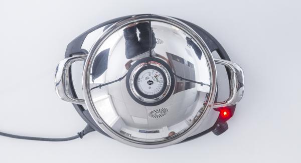 Cuando el Avisador (Audiotherm) emita un pitido al finalizar el tiempo de cocción, apagar el fuego y dejar reposar 10 minutos.