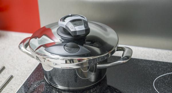 """Colocar la olla en el fuego a temperatura máxima. Encender el Avisador (Audiotherm), introducir 4 minutos de tiempo de cocción. Colocarlo en el pomo (Visiotherm) y girar hasta que aparezca el símbolo """"Soft""""."""