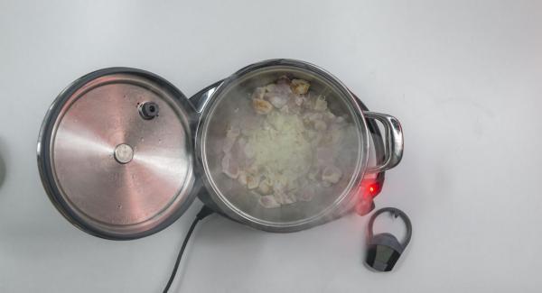 Dar la vuelta al pollo y añadir la cebolla.