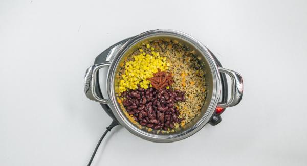 Añadir la soja triturada y asar conjuntamente durante un breve espacio de tiempo. Añadir las alubias y el maíz, e incorporar el puré de tomate.