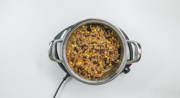 Añadir los tomates troceados y el caldo, y mezclarlo todo bien.Sazonar con sal, pimienta, pimienta cayena y cilantro.