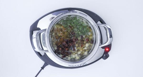 A continuación, añadir los garbanzos junto con el agua de remojarlos, el chorizo, el perejil, el pimentón y un poco de sal. Mezclarlo todo bien y tapar con la Tapa Rápida (Secuquick Softline).