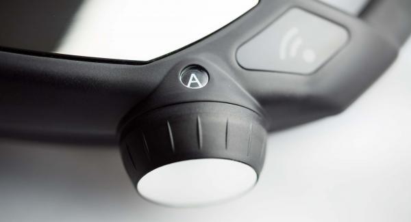 """Colocar una olla en el Navigenio y seleccionar la función (A), encender el Avisador (Audiotherm), introducir 2 minutos de tiempo de cocción. Colocarlo en el pomo (Visiotherm) y girar hasta que aparezca el símbolo de """"Soft""""."""