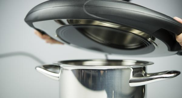 Colocar el Navigenio en modo horno (poniéndolo invertido encima de la olla) y ajustar a temperatura media. Cuando el Navigenio parpadee en rojo/azul, introducir 6 minutos en el Avisador (Audiotherm) y gratinar hasta que esté dorado/crujiente.
