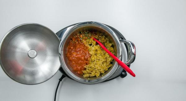 """Cuando el Avisador (Audiotherm) emita un pitido al llegar a la ventana de """"chuleta"""", bajar temperatura de Navigenio (nivel 2) y añadir las verduras troceadas por partes y asarlo todo junto. Añadir los tomates, el caldo y la pasta, y mezclar bien."""