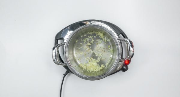 """Cuando el Avisador (Audiotherm) emita un pitido al llegar a la ventana de """"chuleta"""", bajar temperatura de Navigenio (nivel 2) y sofreír la cebolla."""