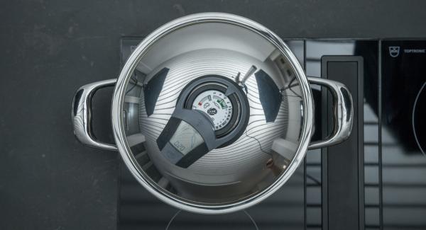 """Colocar la olla en el fuego a temperatura máxima. Encender el Avisador (Audiotherm) e introducir 20 minutos de tiempo de cocción. Colocarlo en el pomo (Visiotherm) y girar hasta que aparezca el símbolo de """"zanahoria"""". Cuando el Avisador (Audiotherm) emita un pitido al llegar a la ventana """"zanahoria"""", bajar temperatura y cocinar hasta el final."""