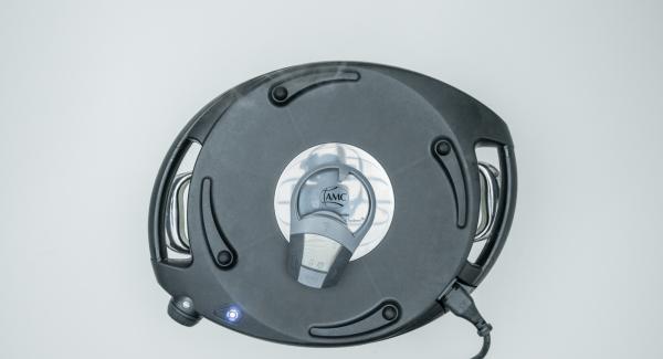 Colocar el Navigenio en modo de horno (poniéndolo invertido encima de la olla) y ajustar a temperatura baja. Cuando el Navigenio parpadee en rojo/azul, introducir 10 minutos en el Avisador (Audiotherm) y gratinar.