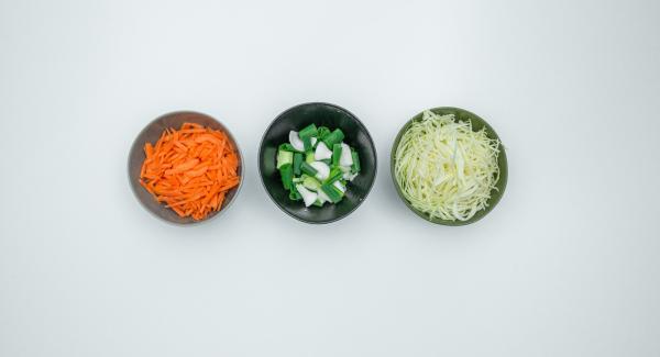Limpiar el repollo, pelar las zanahorias y rallar ambos finamente. Limpiar las cebolletas y cortarlas en trozos de 1 cm de largo. Cortar las setas en trozos pequeños.