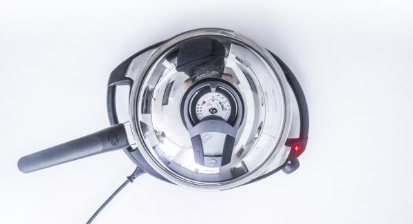 """Colocar la sartén con abundante en el Navigenio a temperatura máxima (nivel 6). Encender el Avisador (Audiotherm), colocarlo en el pomo (Visiotherm) y girar hasta que se muestre el símbolo de """"chuleta""""."""