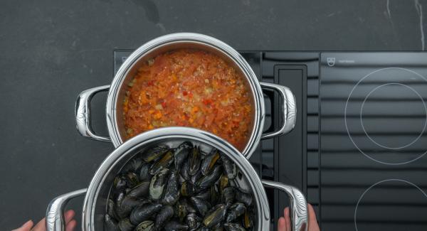 Arrancar y picar las hojas de orégano, mezclar con la salsa de tomate y sazonar al gusto con sal y pimienta. Retirar los mejillones cerrados y servir el resto con la salsa de verduras.