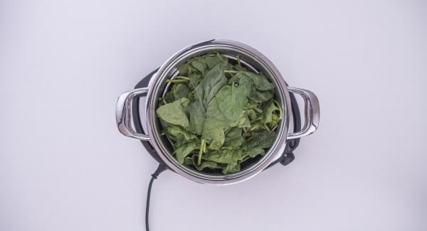 Verter agua (unos 150 ml) en una olla.  Colocar las espinacas en la Softiera, introducir en la olla y tapar con la Tapa Súper-Vapor (EasyQuick) con un aro de sellado de 24 cm.