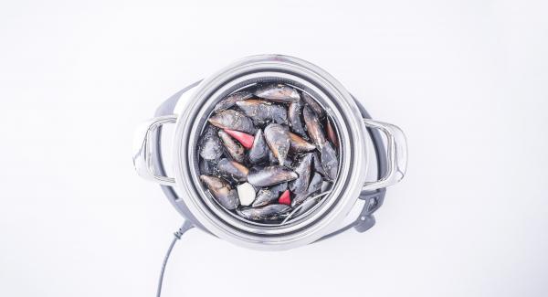 Verter agua (unos 120 ml) en una olla. Colocar los mejillones en la Softiera de 24 cm, introducir en la olla y tapar con la Tapa Súper-Vapor (EasyQuick) con un aro de sellado de 24 cm.