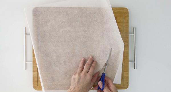 Pintar y cortar un círculo en un papel de horno con la ayuda de una tapa de 24cm.