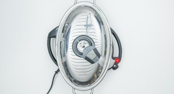"""Cuando el Avisador (Audiotherm) emita un pitido al llegar a la ventana de """"chuleta"""", bajar temperatura de Navigenio (nivel 4) colocar los filetes en en centro y tapar."""
