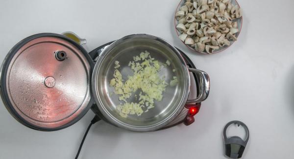 """Cuando el Avisador (Audiotherm) emita un pitido al llegar a la ventana de """"chuleta"""", bajar temperatura de Navigenio (nivel 2) rehogar un poco más la cebolla."""