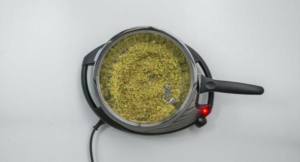 Poner mantequilla en la sartén caliente y ajustar el Navigenio a temperatura máxima (nivel 6). En cuanto empiece a espumar, añadir el pan rallado y los pistachos, bajar la temperatura de Navigenio (nivel 2) y dorar todo ligeramente. Añadir azúcar y remover.