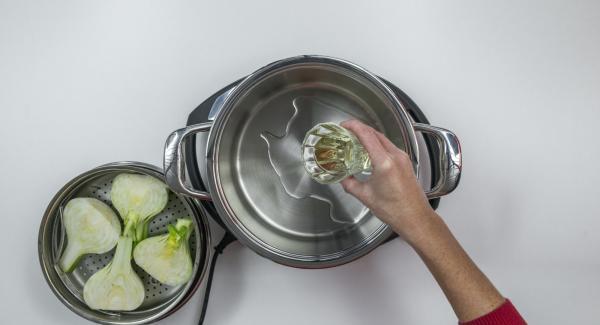 Limpiar y cortar el hinojo por la mitad a lo largo. Verter media taza de agua y el vino en una olla. Colocar el hinojo en la Softiera, introducir en la olla, tapar con la Tapa Rápida (Secuquick Softline) y cerrar.