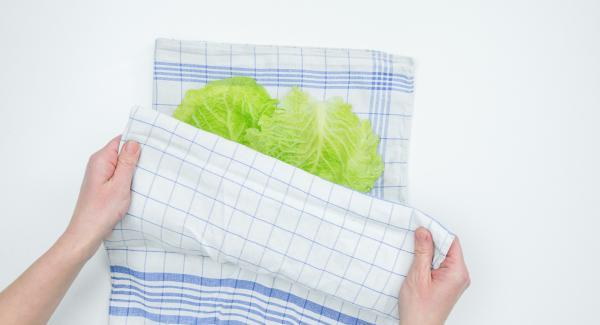 Cortar la gruesa costilla central de las hojas de repollo. Ponerlas entre 2 paños de cocina y aplanar con un rodillo de cocina.