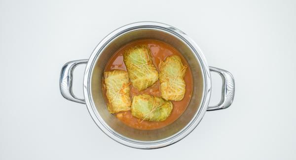 Espesar ligeramente la salsa al gusto y espolvorear con la cebolleta verde para servir.