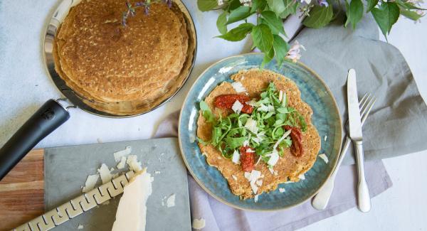 Retirar la tortita, espolvorear con sal marina y pimienta y servir.