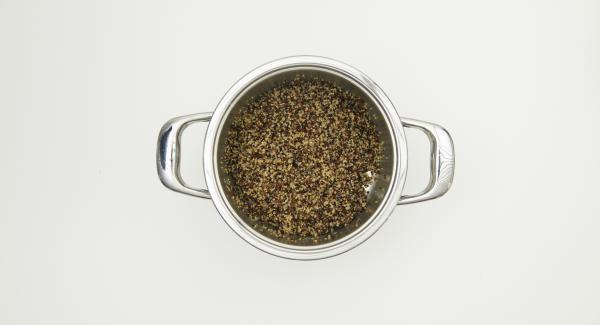 Cuando el Avisador (Audiotherm) emita un pitido al finalizar el tiempo de cocción, despresurizar la Tapa Rápida (Secuquick Softline) pulsando el botón amarillo y retirar. Dejar enfríar un poco la quinoa y añadir al resto de la ensalada.