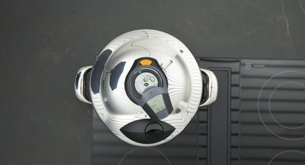"""Cuando el Avisador (Audiotherm) emita un pitido al llegar a la ventana """"soft"""", bajar temperatura y terminar de cocinar."""