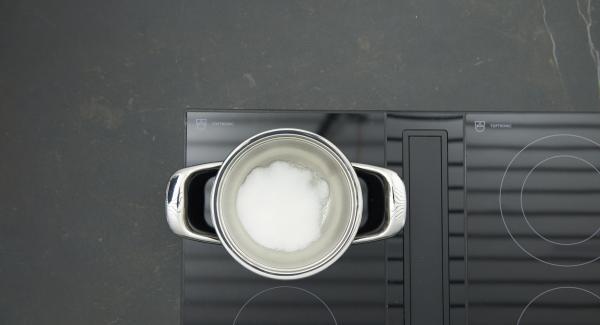 Poner aproximadamente 1 cucharada de azúcar en una olla pequeña, colocar la olla en el fuego a temperatura máxima. Una vez que el azúcar comience a derretirse bajar la temperatura. Añadir poco a poco el azúcar restante y caramelizar todo ligeramente.